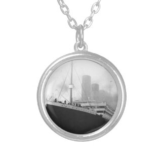 Titanic in dock in Southampton Round Pendant Necklace
