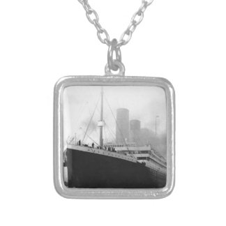 Titanic in dock in Southampton Square Pendant Necklace