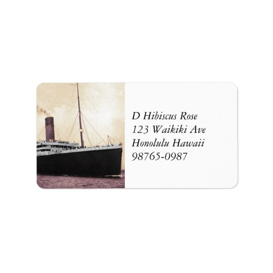 Titanic on Her Maiden Voyage Address Label