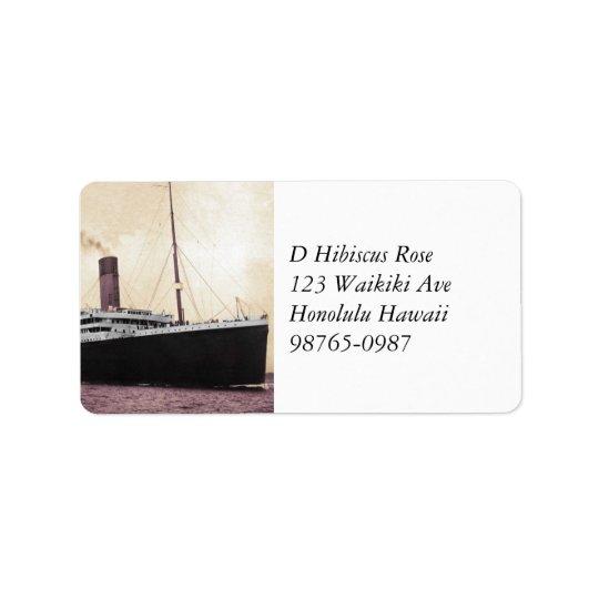 Titanic on Her Maiden Voyage Label