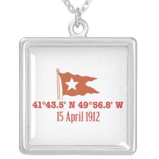 Titanic Sinking GPS Coordinates & White Star Flag Custom Jewelry