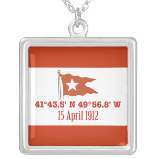 Titanic Sinking GPS Coordinates & White Star Flag Jewelry