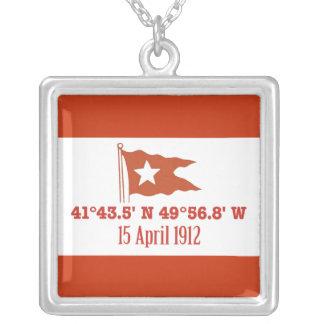 Titanic Sinking GPS Coordinates & White Star Flag Square Pendant Necklace