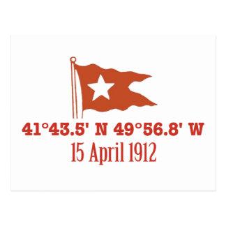 Titanic Sinking GPS Coordinates & White Star Flag Postcard