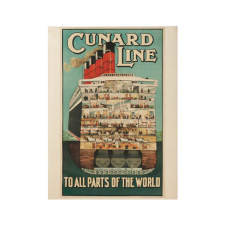Titanic Titan of the Sea Cunard Line Wood Poster