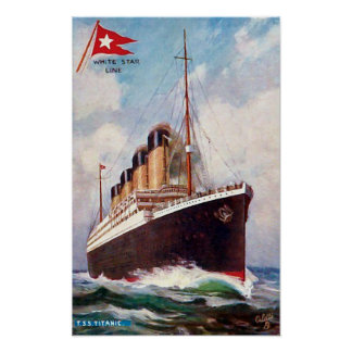 Titanic White Star Line Painting Poster