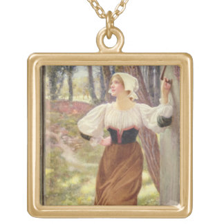 Tithe in Kind (w/c on paper) Square Pendant Necklace