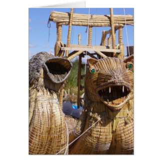 titicaca boat faces greeting card