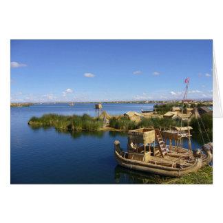 titicaca island boat greeting card