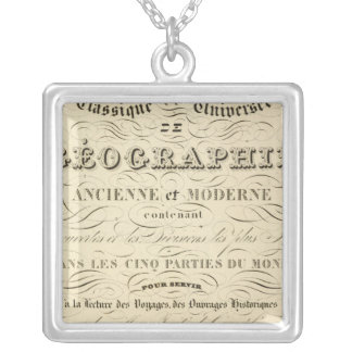 Title Page Atlas classical and universal geography Silver Plated Necklace