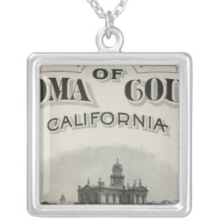 Title Page Atlas Sonoma County, California Silver Plated Necklace