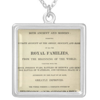 Title Page Complete Genealogical, Historical Silver Plated Necklace