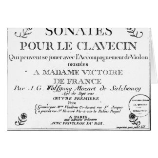 Title Page for 'Sonates pour le clavecin' Card