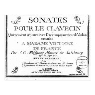 Title Page for 'Sonates pour le clavecin' Postcard