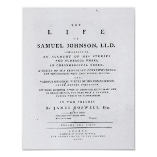 Title page, from 'The Life of Samuel Johnson' Poster