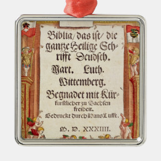 Title page from the Luther Bible, c.1530 Silver-Colored Square Decoration