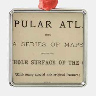 Title Page Letts's popular atlas Silver-Colored Square Decoration