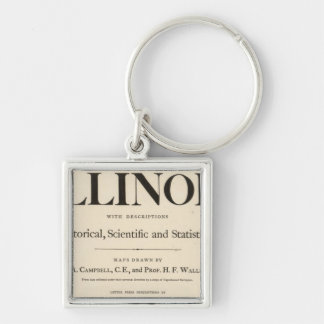 Title Page New atlas Illinois Silver-Colored Square Key Ring