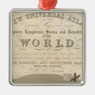 Title Page New Universal Atlas Silver-Colored Square Decoration