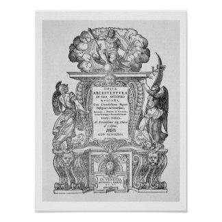 Title Page of 'Della Architettura', published 1590 Poster