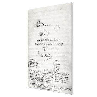 Title page of 'La Damnation de Faust' Canvas Print