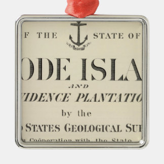 Title Page Rhode Island atlas Silver-Colored Square Decoration