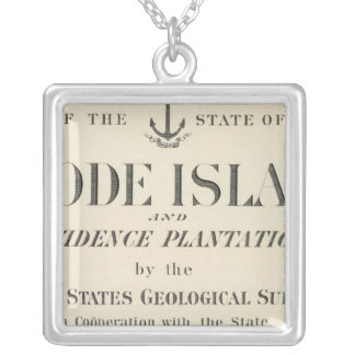 Title Page Rhode Island atlas Silver Plated Necklace