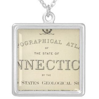Title Page Topo atlas Connecticut Silver Plated Necklace