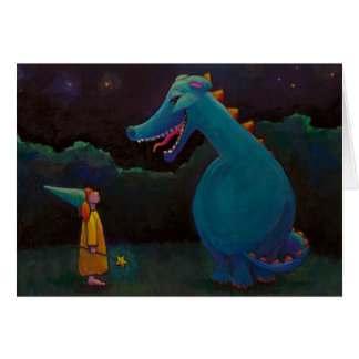 Titled:  Alice - Dragon and little girl magician Greeting Cards