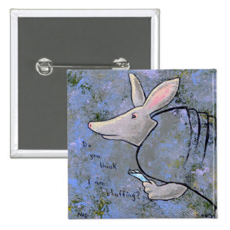 Titled:  Card Shark - is poker armadillo bluffing? 15 Cm Square Badge