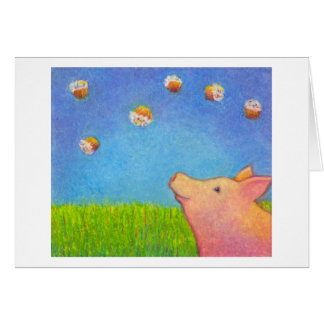 Titled:  Cupcakes  ~  Happy pig CUSTOMIZE IT Card