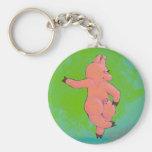 Titled:  Elusive Irish Dancing Pig Basic Round Button Key Ring