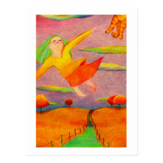 Titled: Flying Girl ~ Fun happy PERSONALIZED art Postcard