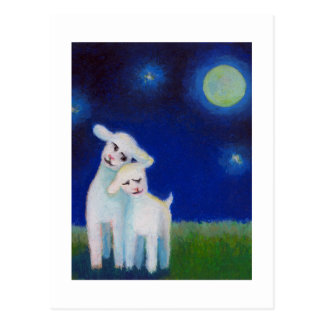 Titled:  Full Moon Sweethearts - lambs sheep love Postcard