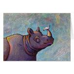 Titled:  Gossip - Rhinoceros rhino bird art Greeting Card