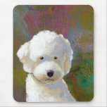 Titled: I'm Thinking About It - adorable white dog Mouse Mats