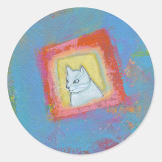 Titled: Plotting, Scheming... - fun unique cat art Stickers