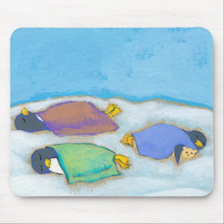 Titled:  Snoozing - adorable napping penguin art Mouse Pad