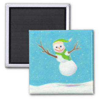 Titled:  Snow Flake - goofy leaping snowman ART Square Magnet