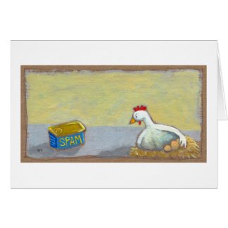 Titled: Spam and Eggs - fun breakfast art chicken Card