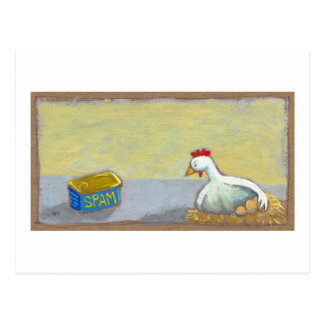 Titled: Spam and Eggs - fun breakfast art chicken Postcard