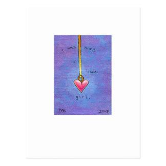 Titled:  Tiny Art #418 - Heart little girl memory Postcard