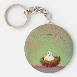 Titled:  Tiny Art #536 (Brand New Bird) Basic Round Button Key Ring