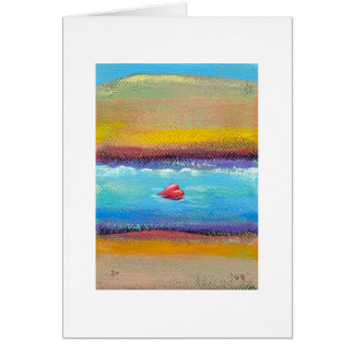 Titled:  Tiny Art #589 - Heart Happily Adrift Greeting Cards