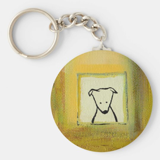 Titled:  Woof  ~  Sweet little dog Basic Round Button Key Ring