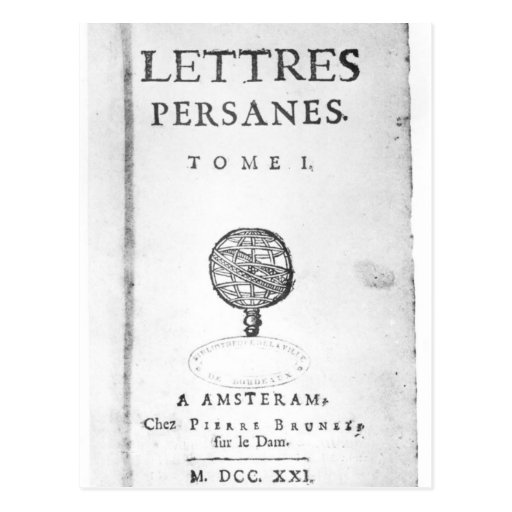 Titlepage of 'Les Lettres Persanes' Postcard