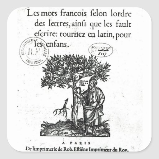 Titlepage of the first French-Latin dictionary Square Sticker