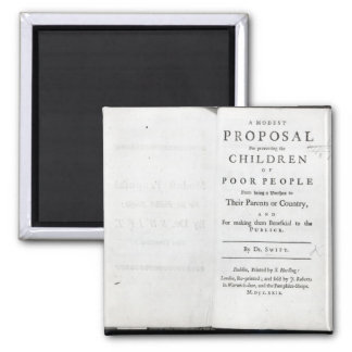 Titlepage to 'A Modest Proposal' Square Magnet