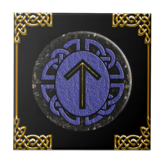 """tiwaz"" elder futhark small square tile"