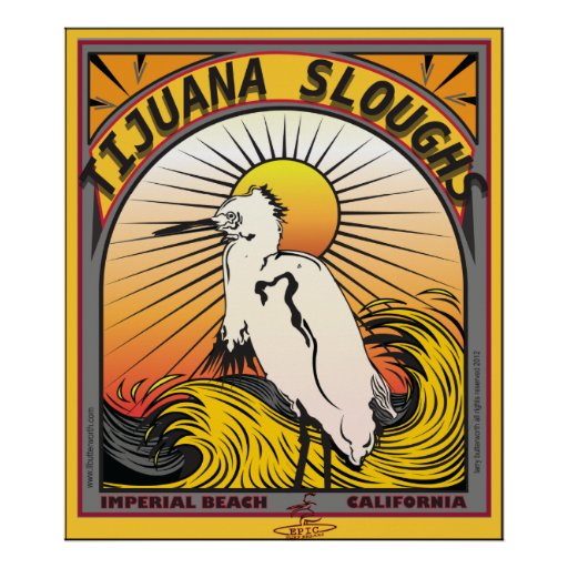 TIYUANA SLOUGHS IMPERIAL BEACH CALIFORNIA SURFING POSTER